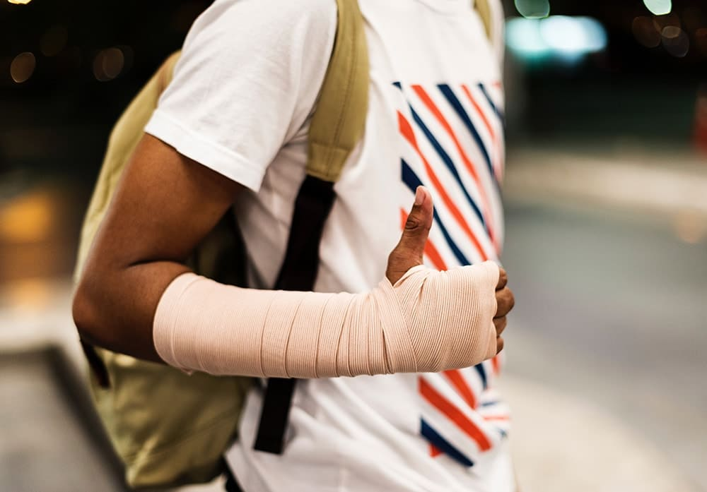 Young black man with bandage wrap